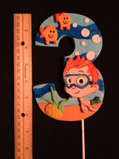 Number Birthday Topper Bubble Guppies Choice of by HeavenlyCakesFL Number Cake Toppers, Fondant Cupcake Toppers, Birthday Cake Toppers, Fondant Numbers, Fondant Letters, Bubble Guppies Cake, Bubble Guppies Birthday, Baby Girl Birthday, 2nd Birthday Parties
