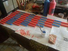 fabrication des barres rouges et bleues