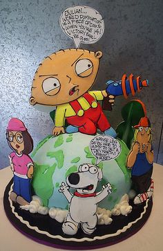 Family Guy Cake by Rosebud Cakes Unique Cakes, Creative Cakes, Gorgeous Cakes, Amazing Cakes, 3d Cakes, Cupcake Cakes, Rosebud Cakes, Bithday Cake, Cake Factory