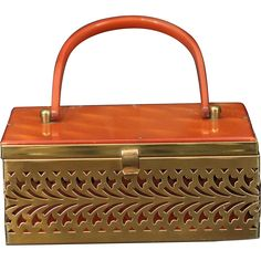 a71571313a Vintage 1950 s Brass Filigree Pierced Metal Rectangular Box Purse Accented  with Butterscotch Lucite