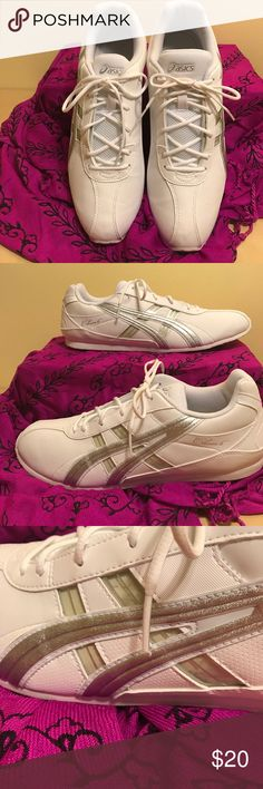 """Asics  """" Cheers 6"""" 12m gym shoe. White/Silver Asics """"Cheers 6"""" design size 12M, White/Silver with multi color inserts for side strips, never worn outside used once on indoor treadmill. Asics Shoes Sneakers"""
