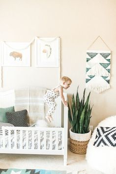 Sweet Southwest-inspired little boy's room: http://www.stylemepretty.com/living/2016/01/25/modern-bohemian-california-home-tour/ | Photography: Daphne Mae - http://www.daphnemaephotography.com/