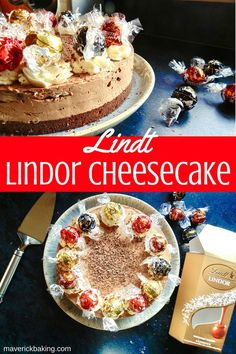 Lindt Lindor Cheesecake; rich and creamy Lindt chocolate melted into a deliciously decadent no bake cheesecake, topped with whipped cream and Lindor truffles!