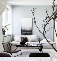 Take a Look Inside a Serene Gothenburg Home with a Lovely Muted Palette - Nordic Design Interior Design Examples, Interior Design Inspiration, Design Ideas, Living Room Designs, Living Room Decor, Living Spaces, Location Villa, Sell Your House Fast, Scandinavian Style