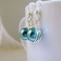 Teal Green Glass Pearl Earrings with Sterling by TraceDesigns, $26.00 #jewelryonetsy #jetteam