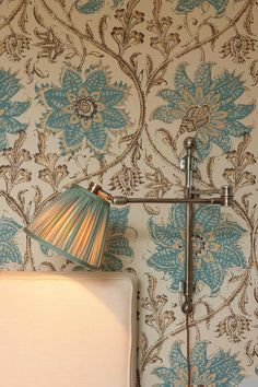 Soane Britain's Reading Wall Light with Swivel shown with wallpaper in Palampore Blossom - Blue and Brown Home Decor Quotes, Home Decor Signs, Cheap Home Decor, Tudor, Reading Wall, Classic Home Decor, Luxury Homes Interior, Handmade Decorations, House Decorations