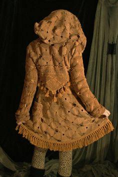 dusty rose mocha coat jacket cotton crochet lace and cotton lining big hood tassels fringe