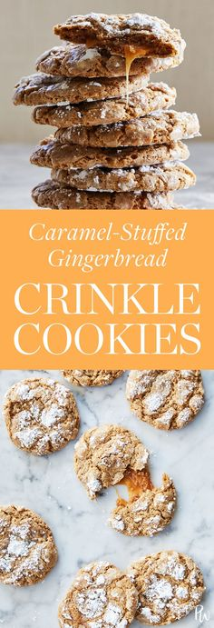 Caramel-stuffed gingerbread crinkle cookies. Get the delicious recipe here. #caramel #gingerbread #cookies #christmascookies #christmascookies #desserts #holidaydesserts