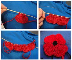 Click through for free pattern. Ravelry: knit flat, no-sew poppy pattern by Suzanne Resaul Knitted Poppy Free Pattern, Knitted Flower Pattern, Baby Booties Knitting Pattern, Christmas Knitting Patterns, Knitting Patterns Free, Knit Patterns, Free Knitting, Knitting Machine, Knitting Ideas