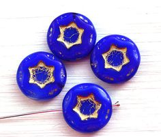 Dark Blue Star beads, cobalt czech glass beads with golden inlays, blue pressed beads, coin shape, round flat bead - 17mm - 4Pc - 1058 by MayaHoney on Etsy https://www.etsy.com/listing/217684499/dark-blue-star-beads-cobalt-czech-glass