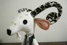 Bobby Elvis the Goat Stuffed Animal with Leopard Print Horns by theblindstitchshop, $45.00