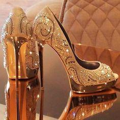 Gold heels                                                                                                                                                                                 More #highheelsstilettos #goldstilettoheels