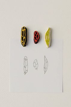 Set of 3 feather rubber stamps - to give your items and paper goods an articulate tribal or prairie style.    Each stamp is caved from quality
