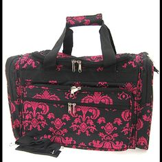 964ce9d8b771 Black Hot Pink Damask Print Duffle Dance Gym Bag Luggage Carry On