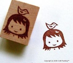 Hand Carved Little Girl w/ Bird Rubber stamp