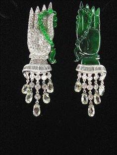 Michael Youssoufian jadeite and diamond jabot hand brooch