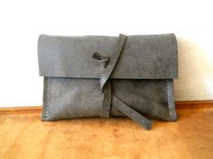 Tobacco pouch   dark gray  leather by Smadars on Etsy, $36.00