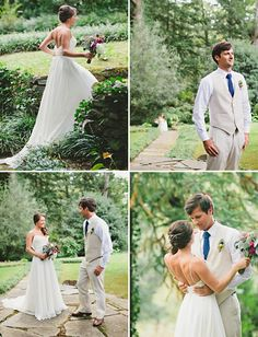 I love the groom's look. A nice change up from traditional black tux with white vest and tie. Nice way to incorporate the navy as well.