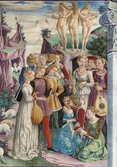 Palazzo Schifanoia- Courtly figures in Allegory of April, francesco del cossa (détail) fresco