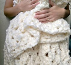 Chunky Wool Blanket Super Bulky Granny Square by TheSnugglery