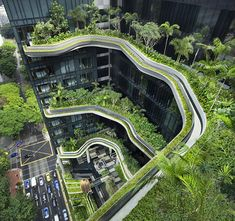 Green Architecture: Living Gardens at Park Royal Hotel in Singapore. StyleSight Blog. A hotel in Singapore now has living and fully-sustainable gardens all around the outside. The design encourages biodiversity, allows for rainwater collection on the roof, while solar cells power outdoor lighting. A similar approach was seen recently at Iceland's ION Hotel. Kelsey C.