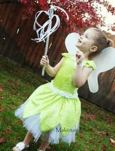 T is insisting on being Tinkerbell for Halloween.  I can either spend $80-100 at the Disney Store or make my own.  Hmmm...