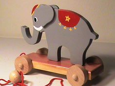 Wooden Circus Elephant Pull Toy - Hand Crafted - Classic Toy - Heirloom Quality - Hand Painted - Eco Friendly Kids Toy via Etsy