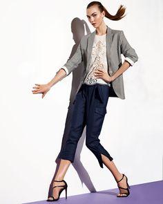 Photoshoot: Karlie Kloss for Neiman Marcus October 2012 Fashion News, Fashion Models, Seersucker Jacket, Missoni Scarf, Feminine Tomboy, Denim Blazer, Karlie Kloss, Romantic Lace, Classy And Fabulous