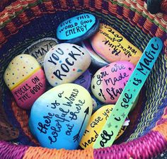 A basket full of and love. All of them were left around this morning. Join me for another workshop Craft with a Purpose on Aug, at . I'll teach your kids how to sprinkle happiness and magic around one rock at a time! Pebble Painting, Pebble Art, Stone Painting, Stone Crafts, Rock Crafts, Martha Stewart Paint, Creative Arts Therapy, Art Therapy, Inspirational Rocks