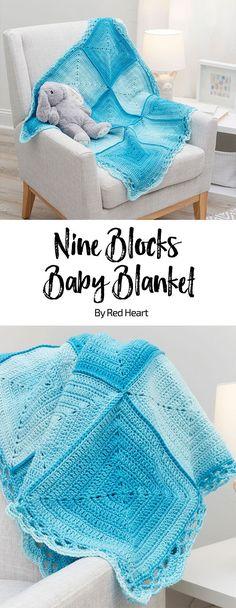 Nine Blocks Baby Blanket free crochet pattern in Super Saver Ombre yarn.