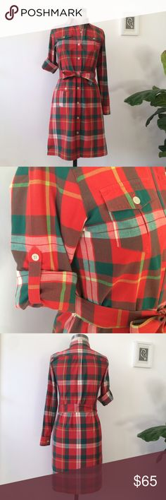 "LL Bean Vibrant Red/Green Plaid Shirt Dress LL Bean Signature's classic madras shirtdress pops in beautiful, saturated red and green. Cotton with two chest pockets and another on the right hip. Self-tie at the waist (can be worn without, or with your own belt). Long sleeves with button tabs for rolling. 37"" from back of shoulder to hem; 4"" side slits for ease of motion. Worn a couple times, in like-new condition. Chic and timeless, a perennial bestseller for the brand. No trades; reasonable…"