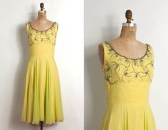 1960s chartreuse silk chiffon cocktail dress