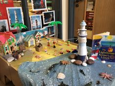 The lighthouse keepers lunch small world play School Displays, Classroom Displays, Lighthouse Keepers Lunch, Story Sack, Eyfs Classroom, Tuff Tray, Small World Play, Sea Theme, Year 2