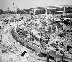 original Submarine Voyage lagoon under construction in the late 1950s.