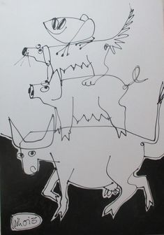 Buy cows and pigs..  drawing on canvas  27,5 x 39,4 inch, Acrylic painting by Max  Müller on Artfinder. Discover thousands of other original paintings, prints, sculptures and photography from independent artists.