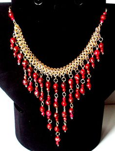 red bauble necklace red statement necklace red bib by NezDesigns, $35.00