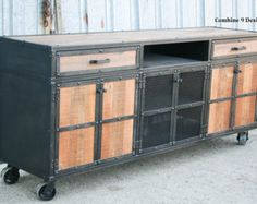 Industrial buffet / console . reclaimed wood & steel .59ST .