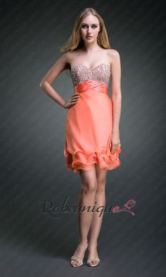 Courte Robe de Cocktail Bustier Orange a Paillettes RUC158 #cocktail #robe #bustier #orange #dresss #robeunique