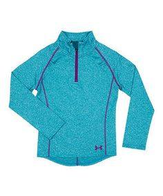 a35a912c8769 This Teal Heather Jersey Zip-Up Sweater - Toddler   Little Girls by Under  Armour® is perfect!