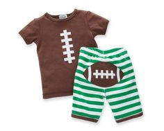 football themed outfit for baby and toddler boys by Mud Pie. Set includes brown top with football lace applique, and green and white striped shorts with a football applique on the backside. Buy Mud Pie online or visit Babytalk in Northport, AL Baby Boy Football, Football Football, Football Stuff, Football Field, Toddler Boys, Baby Kids, Toddler Chores, Mud Pie Baby, Style