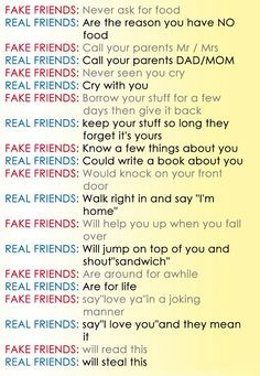 Awesome Quotes: Fake Friends Vs Real Friends Is My Real Friend Acctualy My  Best Friend In The Whole World!