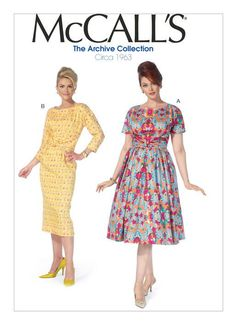 M7086 McCalls 7086 1960s Vintage Dress Sewing Pattern - McCall's Archive Collection