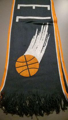 Original 90's Vintage Sport Basket Scarf. Label STEFANEL. Colours Dark Grey, Orange and White di RCClo su Etsy