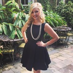 Diva Joanie's favorite little black dress - the Audrey Mini Dress (sizes 2-18, $148) - is complemented perfectly by her string of pearls. So classic!