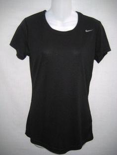 Nike Women's Dri Fit Short Sleeve T Shirt Top Athletic Running Yoga Gym XS Black #Nike #ShirtsTops