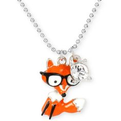Betsey Johnson Silver-Tone Crystal Fox Pendant Necklace ($32) ❤ liked on Polyvore featuring jewelry, necklaces, orange, sparkle jewelry, fox jewelry, pendants & necklaces, orange necklace e crystal stone necklace