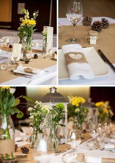 ronds de serviette jute et coeur écorce Déco et fleurs by FéeLicité Mariage rustique champêtre en Savoie