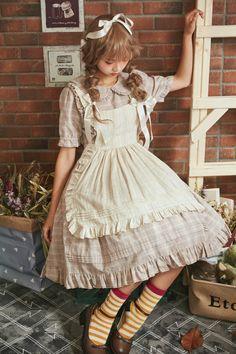 Classic Lolita Dress OP Anne's Breakfast Frill Plaid Cotton Grey Lolita One Piece Dress Harajuku Mode, Harajuku Fashion, Kawaii Fashion, Cute Fashion, Asian Fashion, Vintage Fashion, Dolly Fashion, Lolita Fashion, Alternative Mode