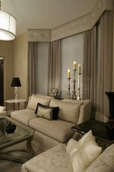 Elegant Living Room - LOVE THE CANDLES IN THE BACK OF THE SOFA. DV
