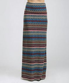 Love this Blue & Black Tribal Stripe Maxi Skirt - Women on #zulily! #zulilyfinds